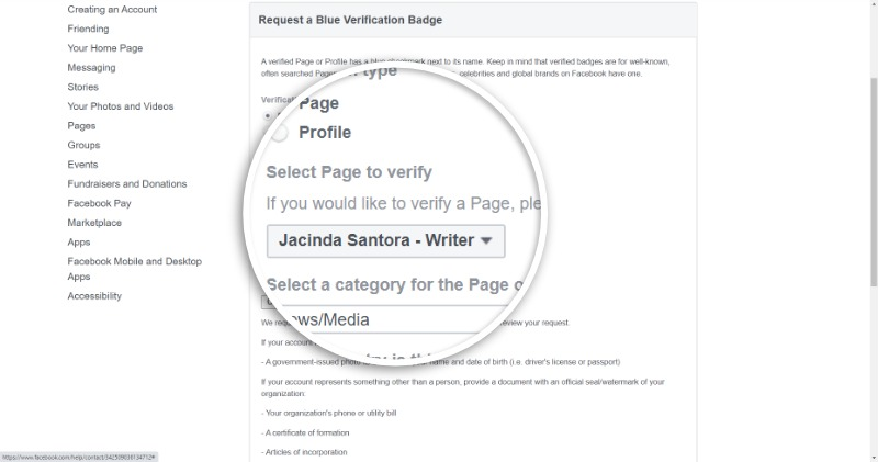 Instructions on how to 'apply' for a Facebook green check in detail 4