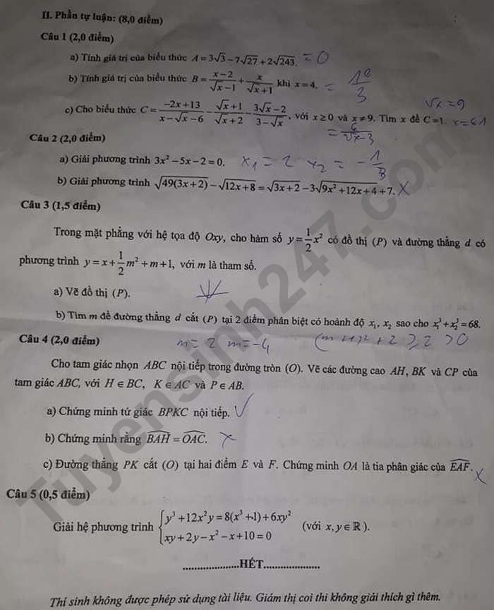 Answers to the 10th grade math exam in Hau Giang province 2021 3