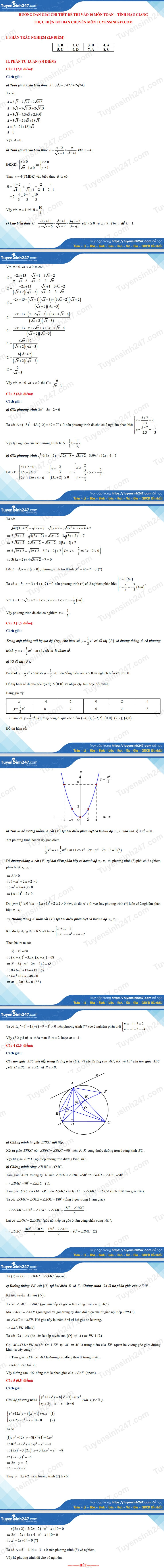 Answers to the 10th grade math exam in Hau Giang province 2021 4