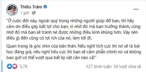 Thieu Bao Tram has a high hand in handling sarcastic comments after being emotional with Son Tung 2