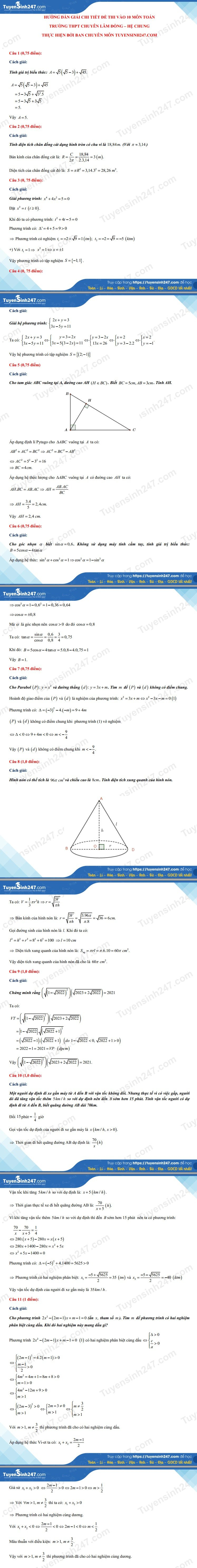 Answers to the 10th grade math exam in Lam Dong province in 2021 2