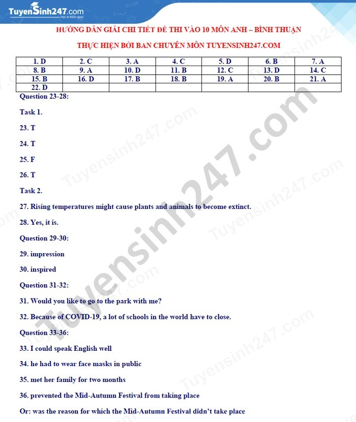 Answers to the English exam for the 10th grade exam in Binh Thuan province in 2021 2