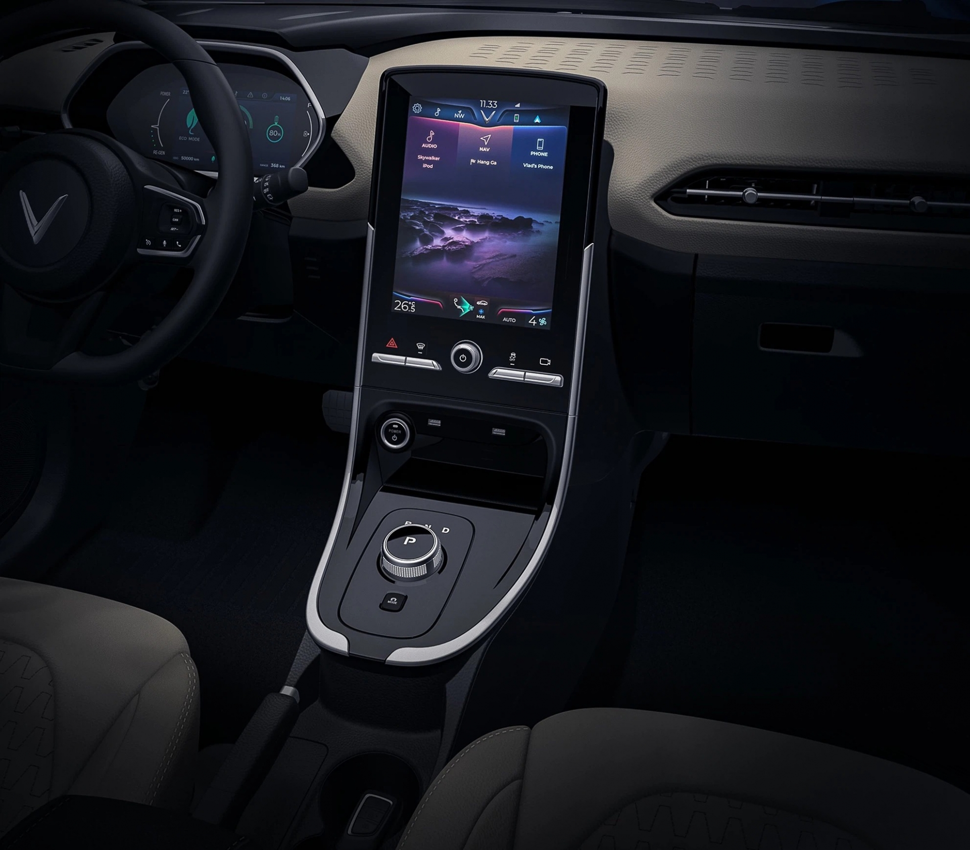 What's the difference between the interior of VinFast VF e34 electric car and the air conditioning system that filters fine dust?  2