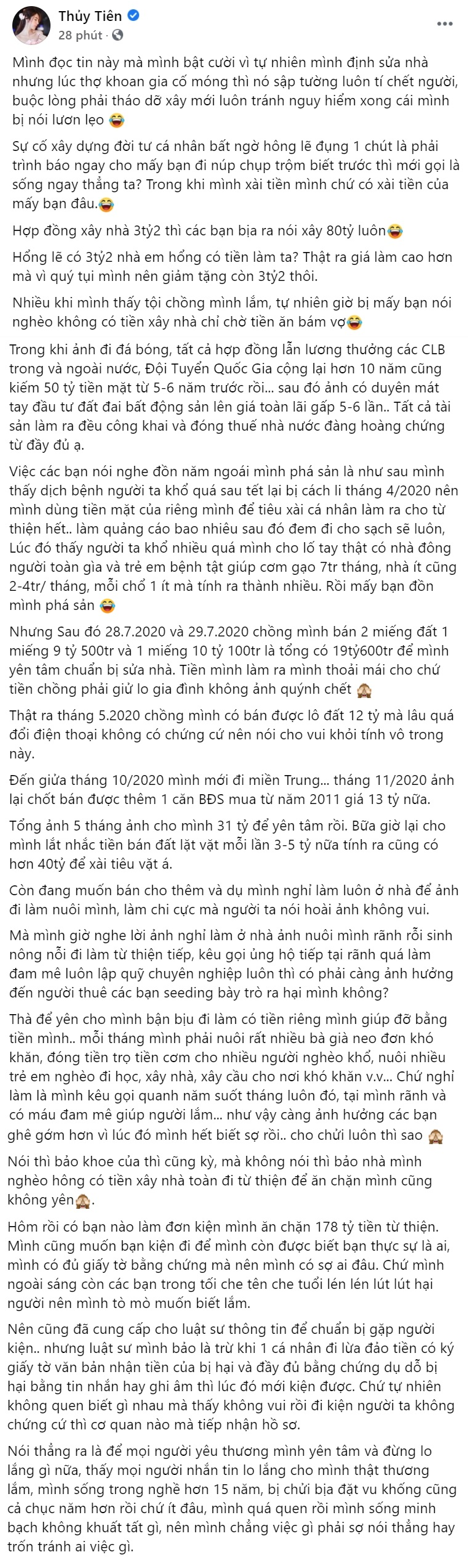 Thuy Tien speaks out against the suspicion of building a villa, showing off her real estate business with more than 40 billion pocket money