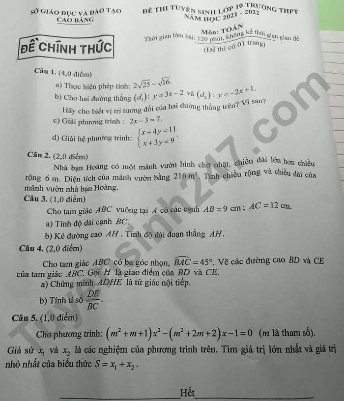 Answers to the 10th grade math exam in Cao Bang province in 2021 2