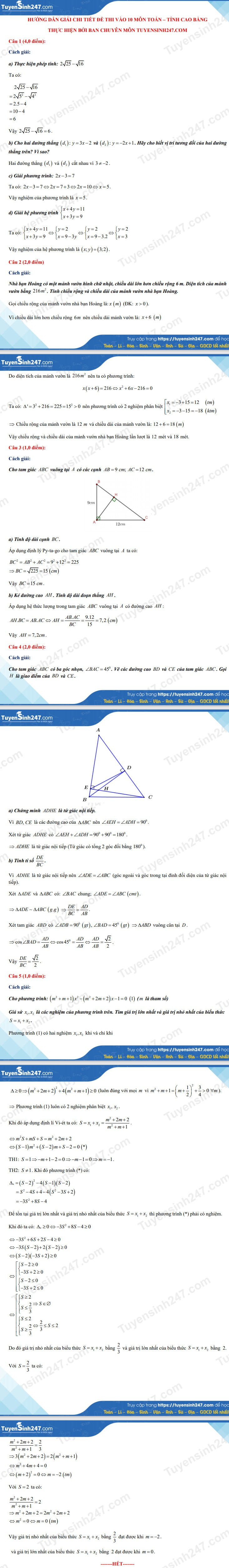 Answers to the 10th grade math exam in Cao Bang province in 2021 3