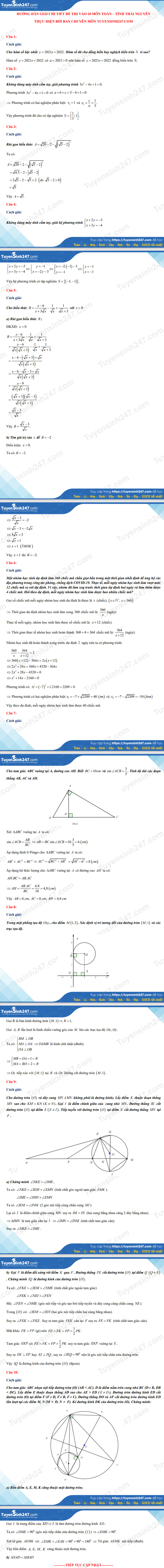 Answers to the 10th grade math exam in Thai Nguyen province 2021 3
