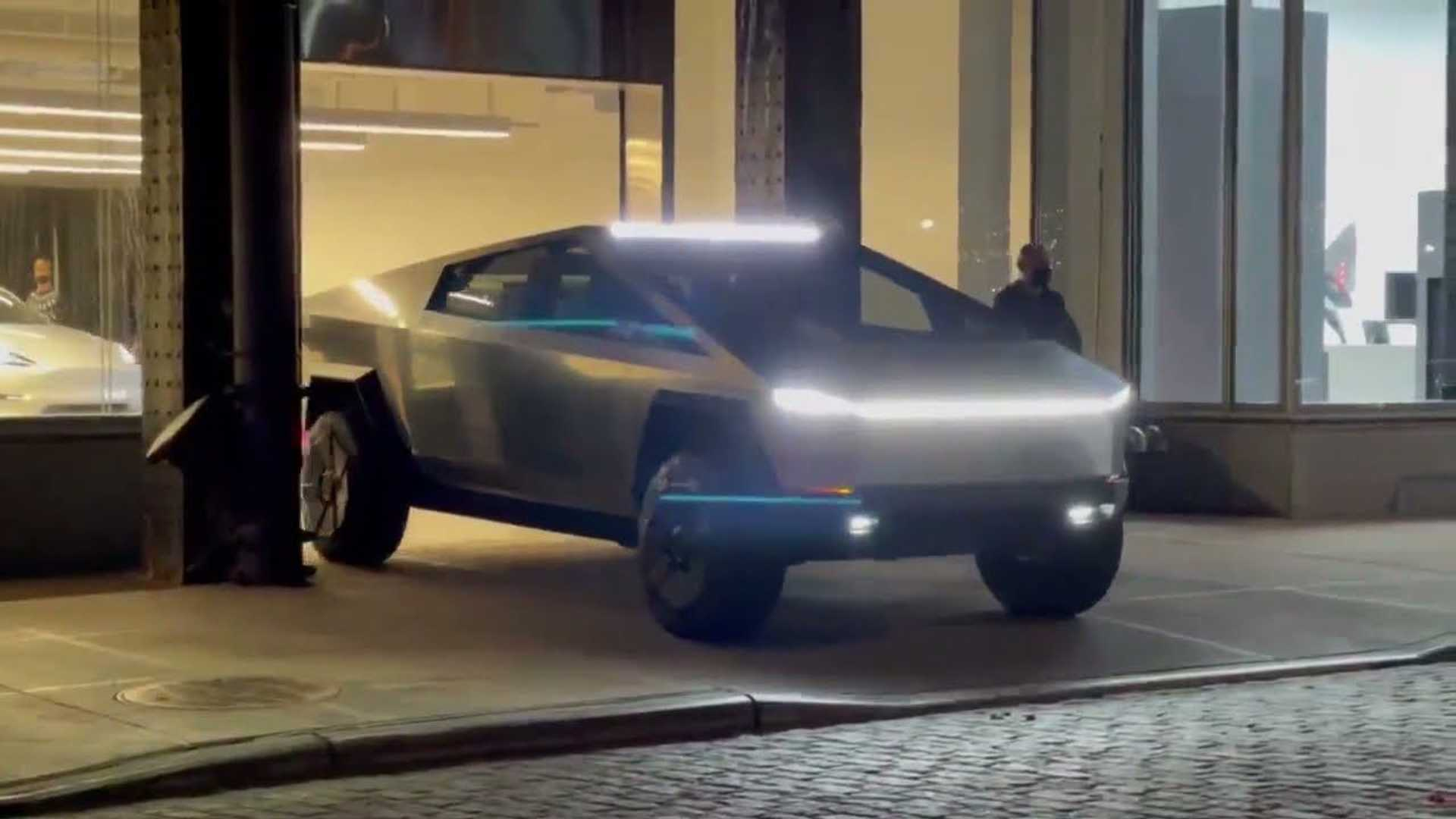 Billionaire Elon Musk's 'future' pickup truck attracts attention when it appears on 2nd Street