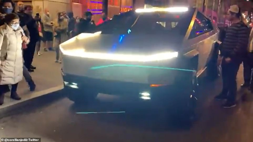 Billionaire Elon Musk's 'future' pickup truck attracts attention when it appears on 3rd Street