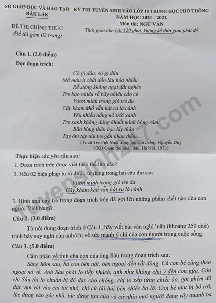 Answers to the exam questions for the 10th grade in Dak Lak province in 2021 1
