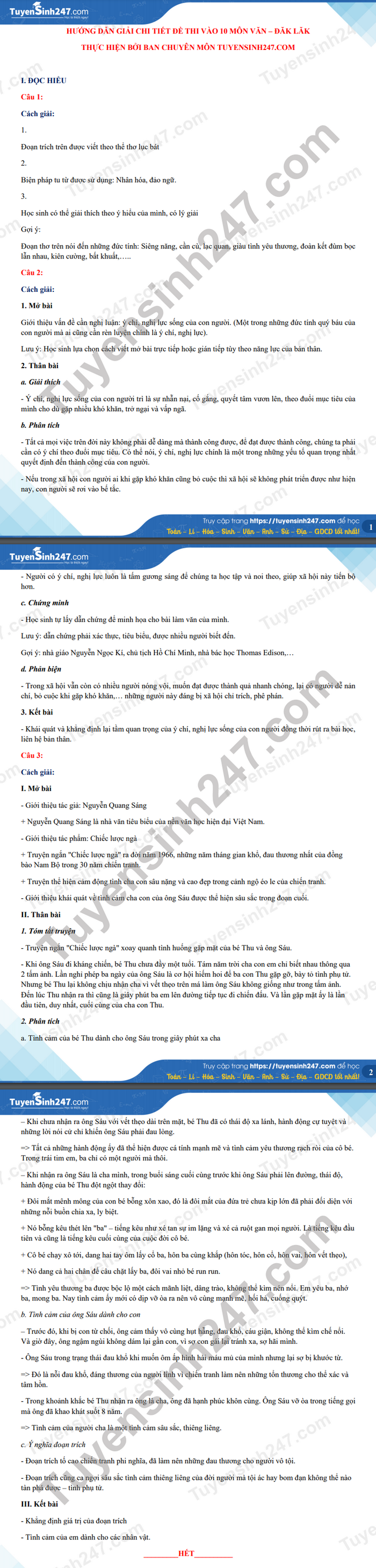 Answers to the exam questions for the 10th grade in Dak Lak province in 2021 3