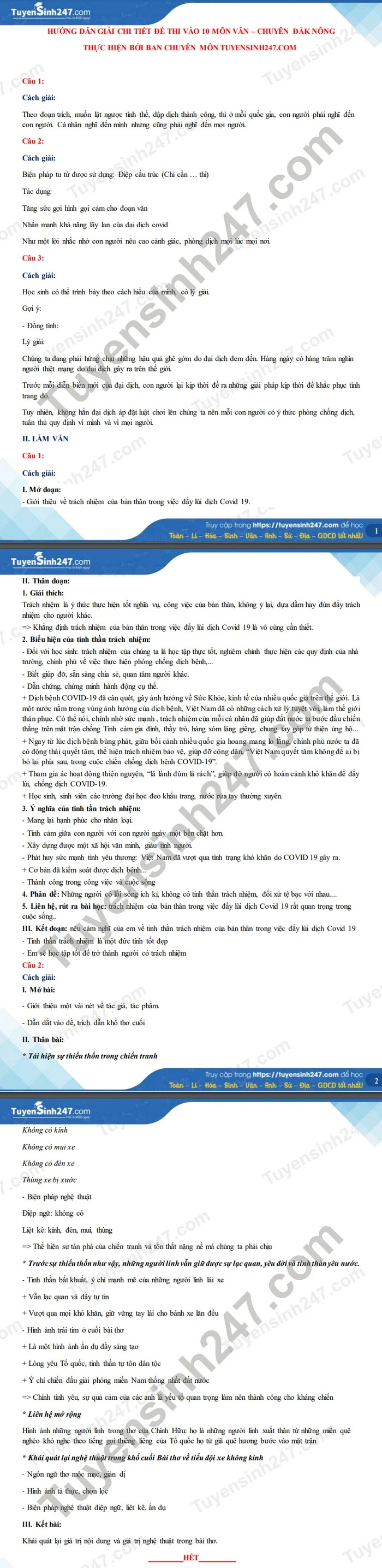 Answers to the exam questions for the 10th grade in Dak Nong province's Literature in 2021 2