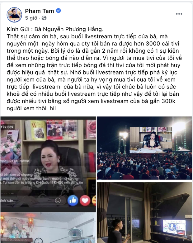 The CEO of the electronics company suddenly thanked Ms. Phuong Hang: One day sold more than 3,000 TVs because of livestream 4