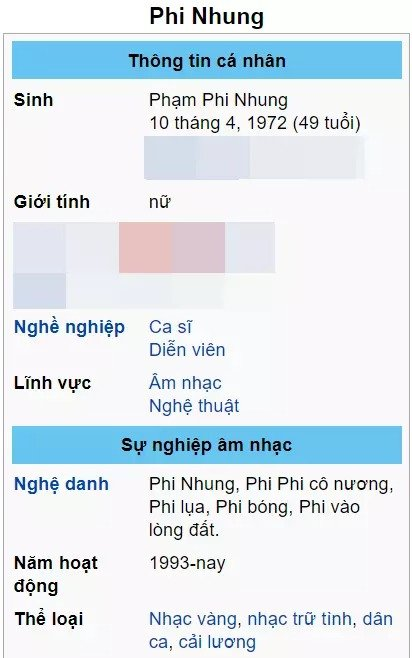 Phi Nhung was edited on Wikipedia with a series of ironic stage names after the noisy series 2