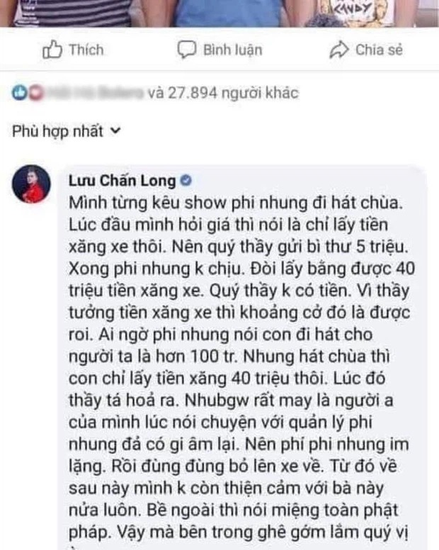 Phi Nhung was accused by Luu Chan Long's juniors of 'turning her face' to force the price of salary, revealing the 'terrible' human nature of the female singer 3