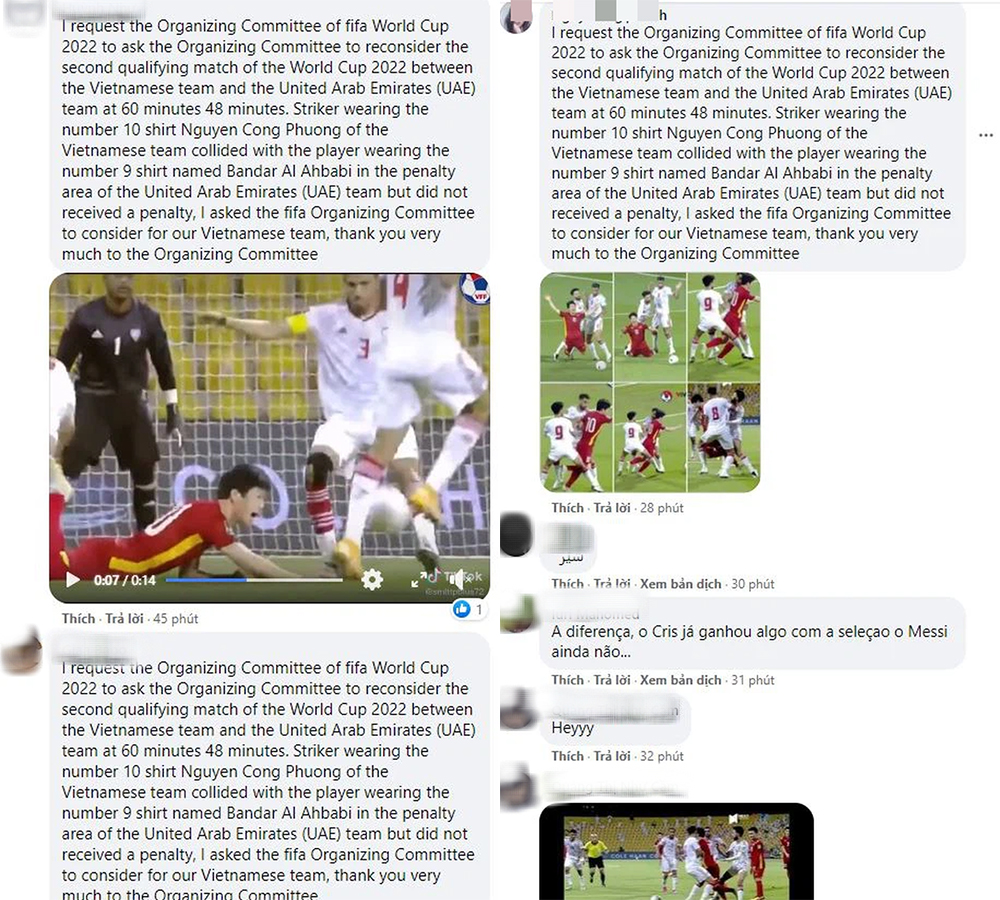 Determined to take back the penalty for Cong Phuong, Vietnamese fans flooded the FIFA World Cup page to