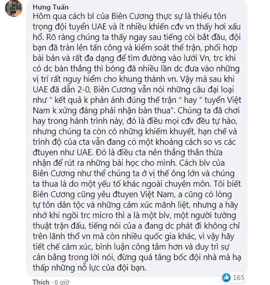 BLV Ta Bien Cuong was criticized by netizens for sinking the UAE to the bottom, listening to it, I just wanted to turn off the TV 2