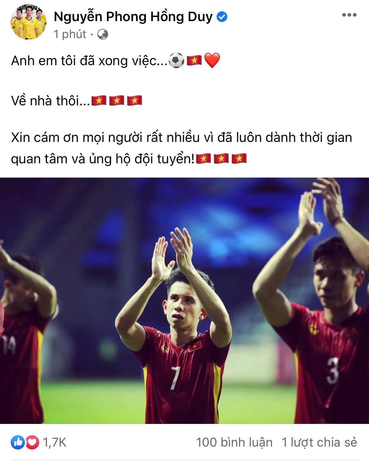 Nguyen Phong Hong Duy thanked the fans for always caring and supporting the team!