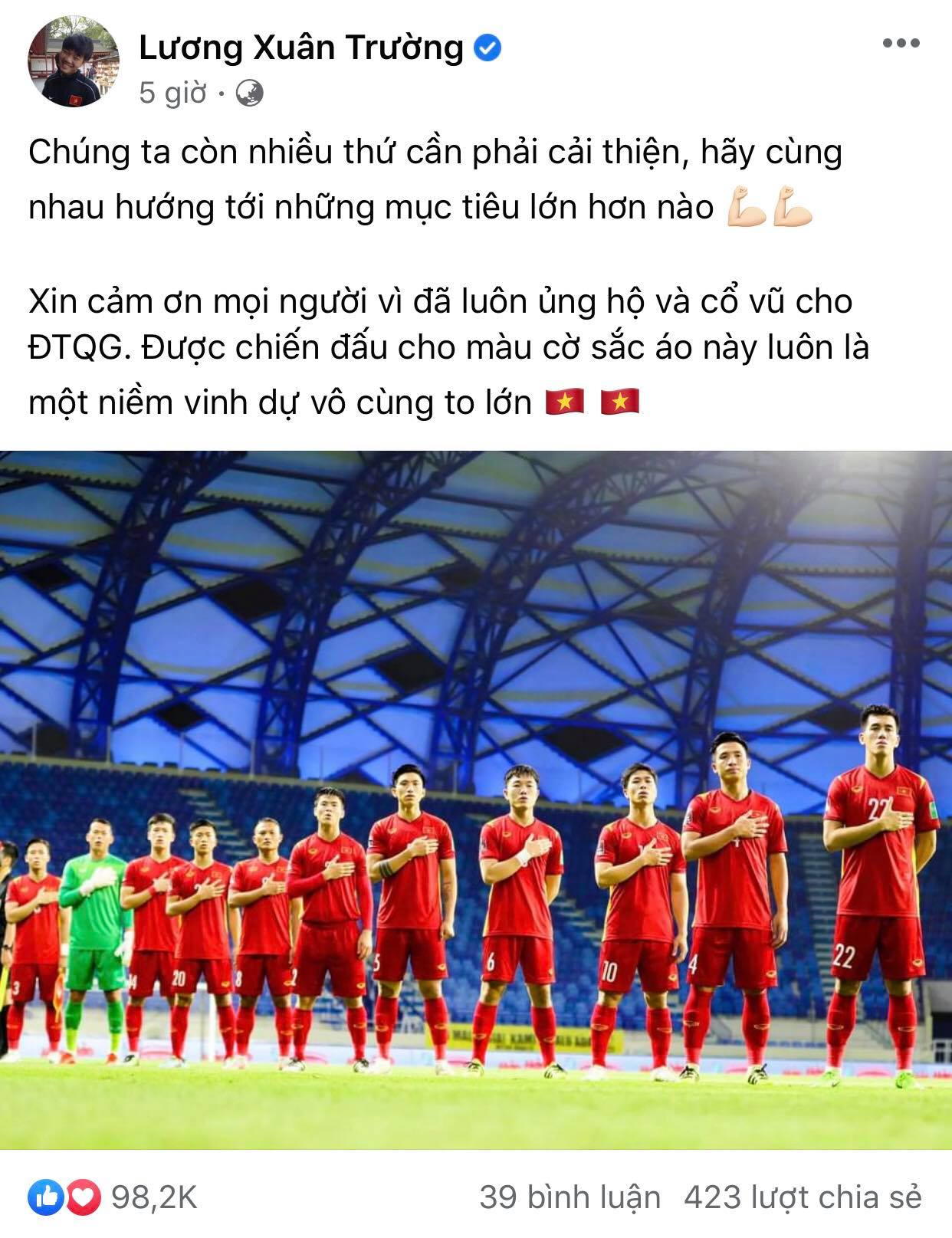 Luong Xuan Truong also thanked the fans.