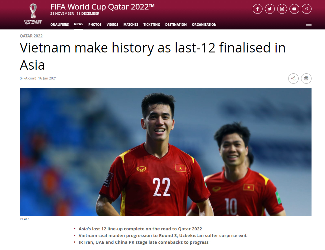FIFA homepage dedicates something special to Vietnam after the miracle of the 2022 World Cup qualifiers 2