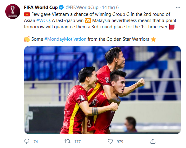FIFA home page dedicates something special to Vietnam after the miracle of the 2022 World Cup qualifiers 4