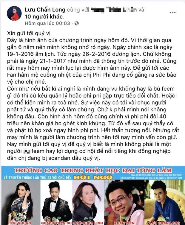 Luu Chan Long challenged Phi Nhung to sue when he launched a 'blow', proving the accusation that the female singer forced the price of salary 2