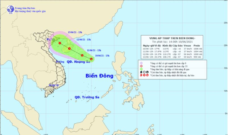 Appears a low pressure area in the East Sea, the North has 1 . showers