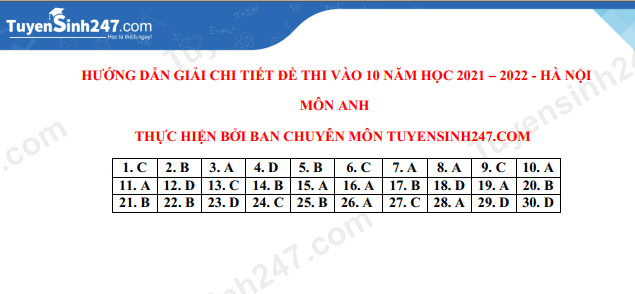 Answers to the 10th grade English exam in Hanoi in 2021 10