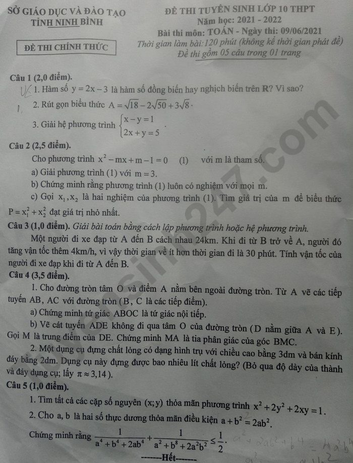 Answers to the math exam questions for the 10th grade exam in Ninh Binh province in 2021 2
