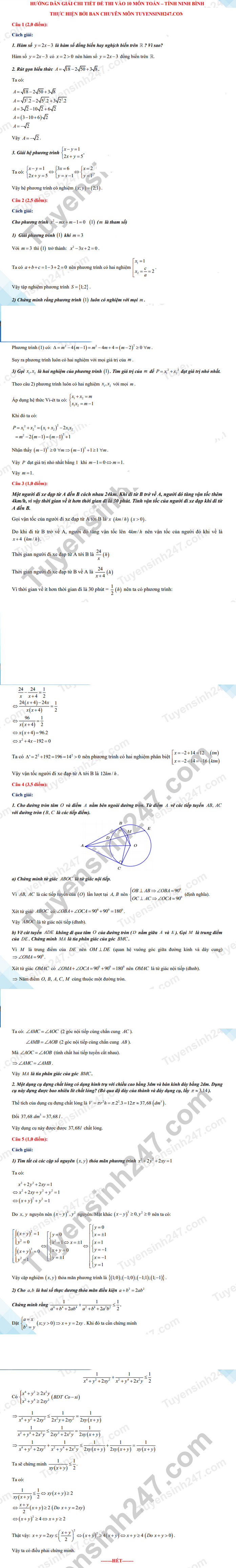 Answers to the math exam questions for the 10th grade exam in Ninh Binh province in 2021 1
