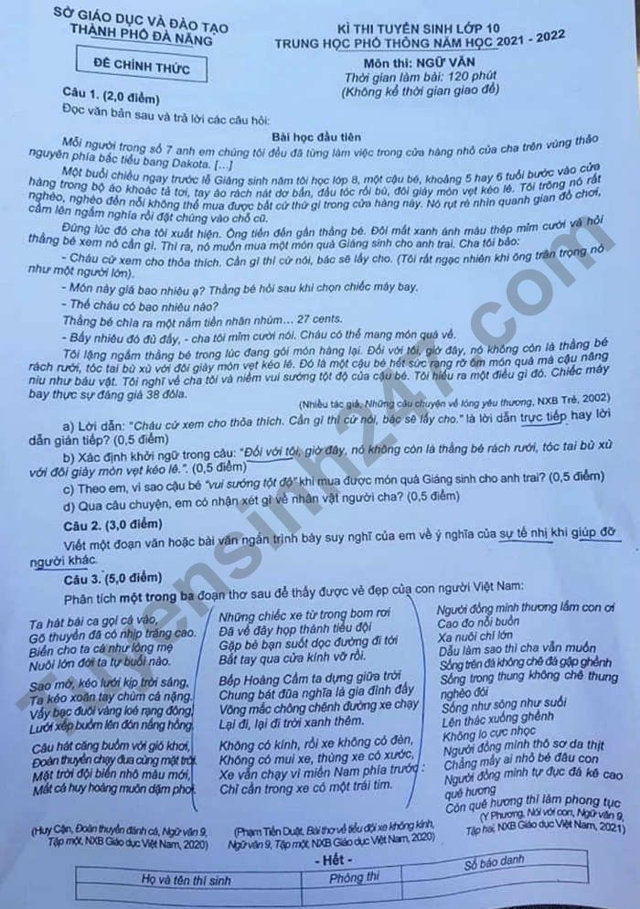 Answers to the literature exam for the 10th grade entrance exam in Da Nang City in 2021 1