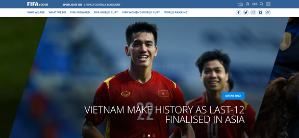 FIFA homepage dedicates something special to Vietnam after the miracle of the 2022 World Cup qualifiers 1