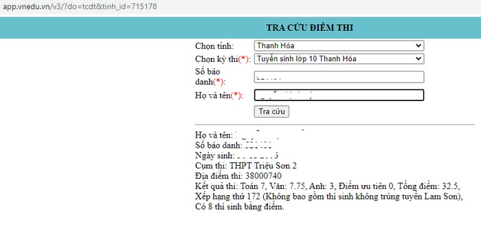 Grade 10 exam score in Thanh Hoa province in 2021 1