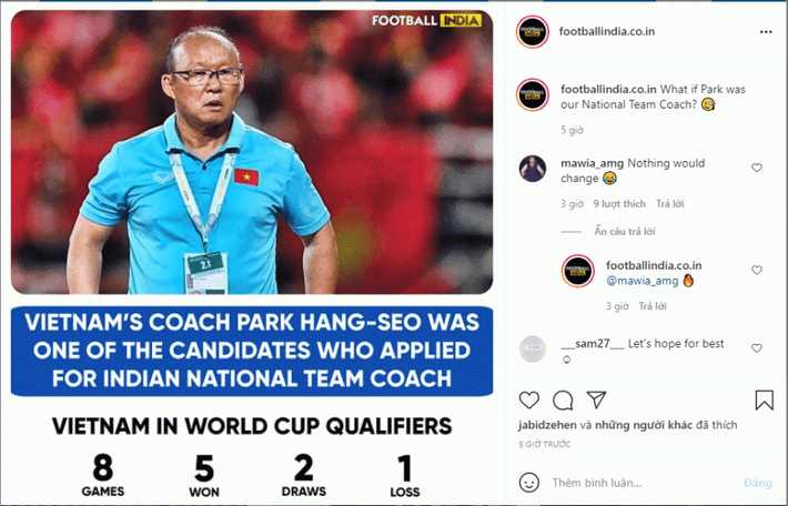Indian fans spread the red carpet, enticing coach Park Hang-seo to leave Vietnam to lead the national team