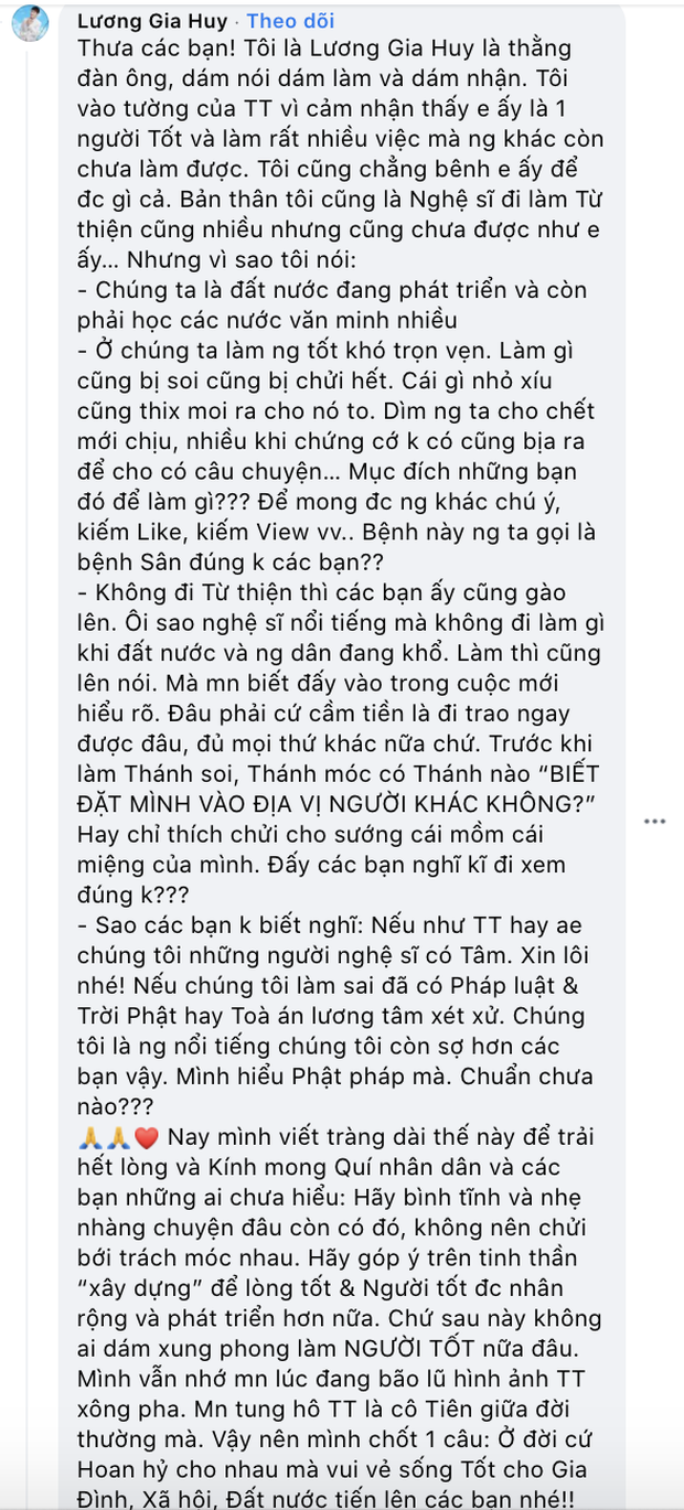Luong Gia Huy caused controversy for criticizing people's low intelligence when defending Thuy Tien 5 Tiên