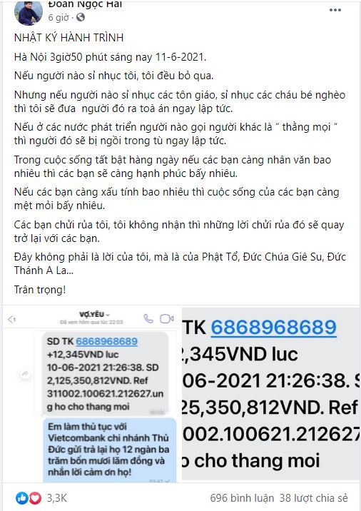 Mr. Doan Ngoc Hai was angry with the sponsor just because the message of support caused a harmful misunderstanding 1