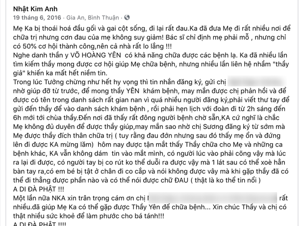 What does Nhat Kim Anh say about the thank you and the image of going to treatment at Mr. Vo Hoang Yen's facility?  3