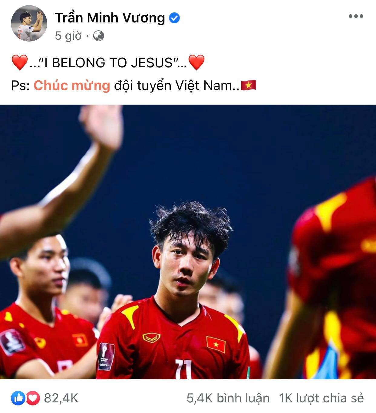 Minh Vuong, one of the heroes in the Vietnam - UAE match, saved every opportunity to create an assist for Tien Linh to score and he also had a goal.