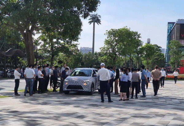 VinFast VF e34 electric car in tight camouflage for a test run in Hanoi 1