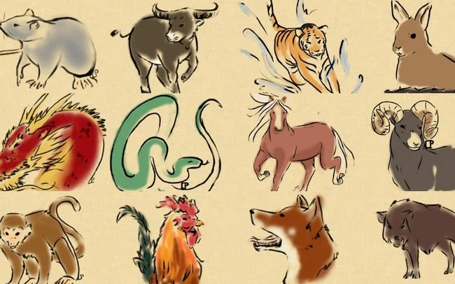 What do the 12 zodiac animals represent according to folk beliefs?  first