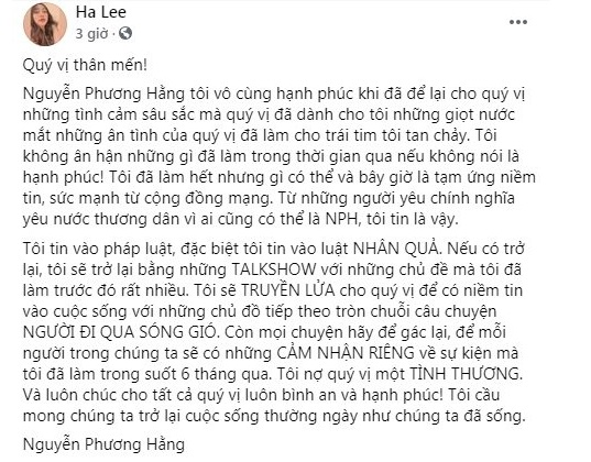 Phuong Hang revealed that she was entangled in a
