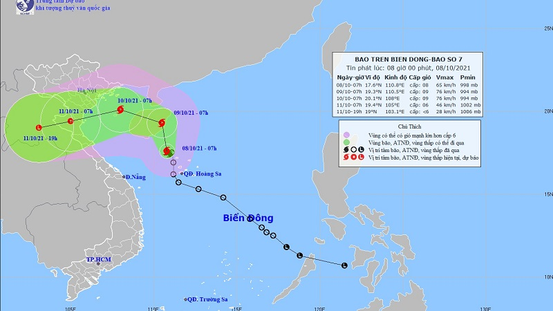 Storm No. 7 shock level 11 is entering the waters of Hoang Sa archipelago 1